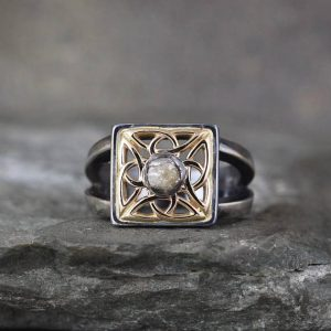 Shop Raw Diamond Engagement Rings! Celtic Knot Men's Raw Diamond Ring – Sterling Silver & 14K Yellow Gold – Celtic Inspired  Wedding Band – Commitment Rings | Natural genuine Diamond rings, simple unique alternative gemstone engagement rings. #rings #jewelry #bridal #wedding #jewelryaccessories #engagementrings #weddingideas #affiliate #ad