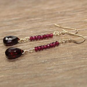 Red Garnet and Rhodolite Garnet Earrings, Garnet Jewelry, Gemstone Jewelry, Silver, Gold or Rose Gold , January Birthstone, Valentine, Love | Natural genuine Gemstone earrings. Buy crystal jewelry, handmade handcrafted artisan jewelry for women.  Unique handmade gift ideas. #jewelry #beadedearrings #beadedjewelry #gift #shopping #handmadejewelry #fashion #style #product #earrings #affiliate #ad