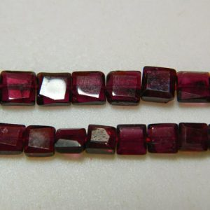 Garnet Beads, Chewing Gum Cut Garnet Beads, Faceted Garnet Beads, 5mm Beads, 14 Inch Strand