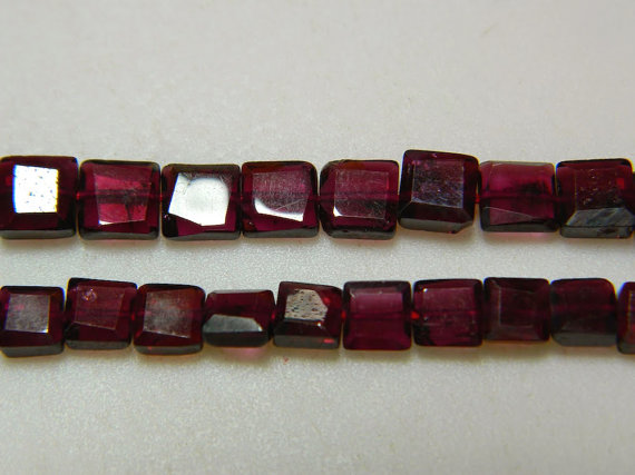 6mm Garnet Chewing Gum Cut ,faceted Chewing Gum Cut, Rectangle Beads, Garnet For Jewelry, Garnet For Necklace (1st To 10st Options)
