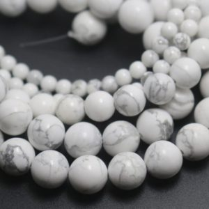 White Howlite Beads, 4mm / 6mm / 8mm / 10mm / 12mm Natural Smooth And Round Stone Beads, 15 Inches One Starand | Natural genuine round Howlite beads for beading and jewelry making.  #jewelry #beads #beadedjewelry #diyjewelry #jewelrymaking #beadstore #beading #affiliate #ad