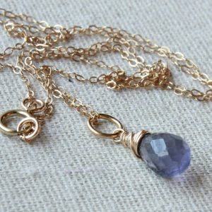 Shop Iolite Necklaces! Iolite Pendant Necklace, Goldfilled wire wrap, violet blue gemstone charm, petite pendant, September birthstone, holiday gift for her, 4466 | Natural genuine Iolite necklaces. Buy crystal jewelry, handmade handcrafted artisan jewelry for women.  Unique handmade gift ideas. #jewelry #beadednecklaces #beadedjewelry #gift #shopping #handmadejewelry #fashion #style #product #necklaces #affiliate #ad