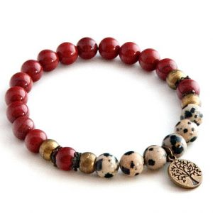 Shop Jasper Bracelets! Red Jasper bracelet with Dalmatian Jasper – Root chakra | Natural genuine Jasper bracelets. Buy crystal jewelry, handmade handcrafted artisan jewelry for women.  Unique handmade gift ideas. #jewelry #beadedbracelets #beadedjewelry #gift #shopping #handmadejewelry #fashion #style #product #bracelets #affiliate #ad