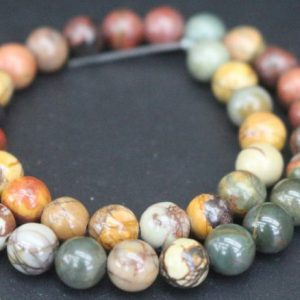 Shop Jasper Beads! 6mm/8mm/10mm/12mm Red Creek Jasper Beads,Smooth and Round Stone Beads,15 inches one starand | Natural genuine beads Jasper beads for beading and jewelry making.  #jewelry #beads #beadedjewelry #diyjewelry #jewelrymaking #beadstore #beading #affiliate #ad