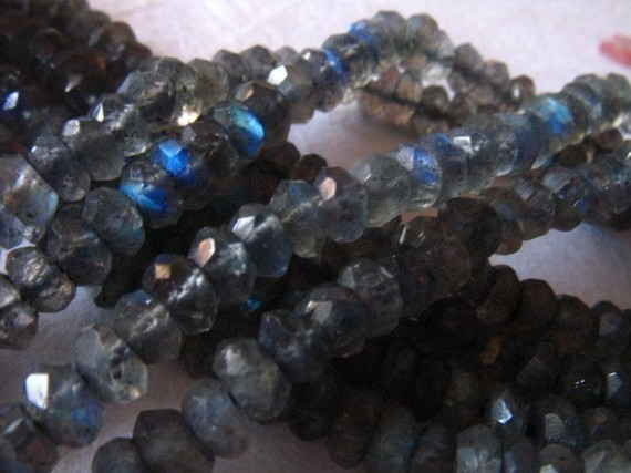 Labradorite Rondelles, Full Strand, 3-4 Mm, Luxe Aaa, Faceted, Tons Flashes Of Blue, Bridesmaids Brides Bridal Weddings True