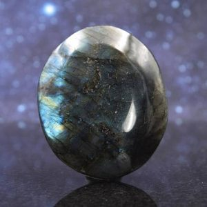 Shop Labradorite Shapes! Beautiful Flashy Large Polished Labradorite from Madagascar | Palm Stone | 3"
