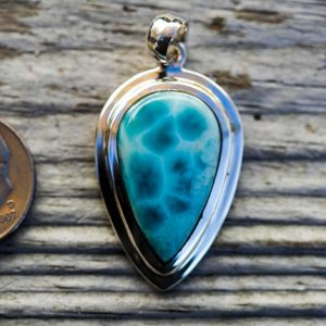 Shop Larimar Necklaces! Larmiar Pendant Little Larimar & Sterling Silver pendant – Little Larimar Pendant – Larimar necklace – Beautiful Little Larimar | Natural genuine Larimar necklaces. Buy crystal jewelry, handmade handcrafted artisan jewelry for women.  Unique handmade gift ideas. #jewelry #beadednecklaces #beadedjewelry #gift #shopping #handmadejewelry #fashion #style #product #necklaces #affiliate #ad