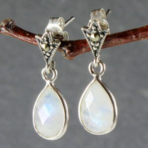 Shop Moonstone Earrings! Rainbow Moonstone Earrings Sterling Silver marcasite studs milky white gemstone classic dainty dangle teardrops June birthstone gift 3866 | Natural genuine Moonstone earrings. Buy crystal jewelry, handmade handcrafted artisan jewelry for women.  Unique handmade gift ideas. #jewelry #beadedearrings #beadedjewelry #gift #shopping #handmadejewelry #fashion #style #product #earrings #affiliate #ad