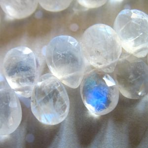 Shop Moonstone Beads! 2-20 pc / 9-10 mm, MOONSTONE Briolettes Beads Rainbow Moonstone / Luxe AAA, Faceted Pear, blue flashes, brides bridal June birthstone 910 | Natural genuine beads Moonstone beads for beading and jewelry making.  #jewelry #beads #beadedjewelry #diyjewelry #jewelrymaking #beadstore #beading #affiliate #ad