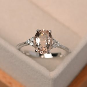 Shop Morganite Engagement Rings! Morganite ring, pink gemstone, morganite engagement rings, oval morganite | Natural genuine Morganite rings, simple unique alternative gemstone engagement rings. #rings #jewelry #bridal #wedding #jewelryaccessories #engagementrings #weddingideas #affiliate #ad