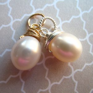 Shop Pearl Bead Shapes! PEARL Pendant Charm Drop Dangle Pearl Solitaire, White or Pink / gift for her June birthstone brides bridal bridesmaid gift gdp7 gd gemdone | Natural genuine other-shape Pearl beads for beading and jewelry making.  #jewelry #beads #beadedjewelry #diyjewelry #jewelrymaking #beadstore #beading #affiliate #ad