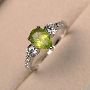 Pear cut gemstone, natural green peridot ring, anniversary ring, gemstone ring, sterling silver ring, August birthstone ring
