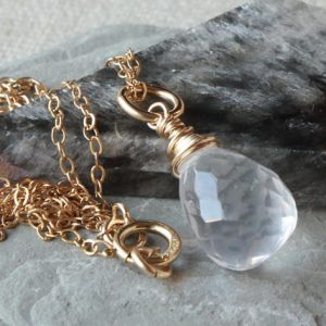 Shop Quartz Crystal Necklaces! Ice Quartz Gold Filled Pendant Necklace, wire wrapped natural crystal clear gemstone simple minimalist choker, April birthstone gift 4477 | Natural genuine Quartz necklaces. Buy crystal jewelry, handmade handcrafted artisan jewelry for women.  Unique handmade gift ideas. #jewelry #beadednecklaces #beadedjewelry #gift #shopping #handmadejewelry #fashion #style #product #necklaces #affiliate #ad