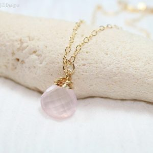 Shop Rose Quartz Necklaces! Rose Quartz Necklace, Wire Wrap Pendant, Rose Quartz Jewelry, Pink Bridesmaid Wedding Gemstone Jewelry, Gold Filled Or Sterling Silver | Natural genuine Rose Quartz necklaces. Buy handcrafted artisan wedding jewelry.  Unique handmade bridal jewelry gift ideas. #jewelry #beadednecklaces #gift #crystaljewelry #shopping #handmadejewelry #wedding #bridal #necklaces #affiliate #ad
