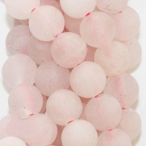 "Shop Rose Quartz Beads! Natural Matte Rose Quartz Beads – Round 6 mm Gemstone Beads – Full Strand 15 1/2"", 62 beads, AA Quality 