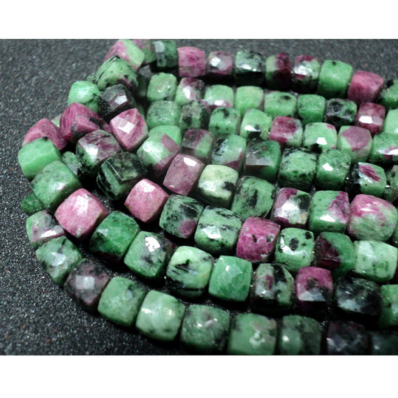 8mm Ruby Zoisite Faceted Cube Beads, Ruby Zoisite Box Beads, Ruby Zoisite For Jewelry, Ruby In Zoisite (4in To 8in Options) - Gaga125