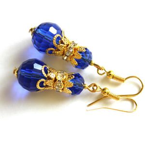Blue Crystal Earrings, Blue Bridesmaid Earrings, Sapphire Blue Earrings, Blue Cocktail Earrings, Blue Bead Earrings, Blue Gold Earrings | Natural genuine Gemstone earrings. Buy crystal jewelry, handmade handcrafted artisan jewelry for women.  Unique handmade gift ideas. #jewelry #beadedearrings #beadedjewelry #gift #shopping #handmadejewelry #fashion #style #product #earrings #affiliate #ad