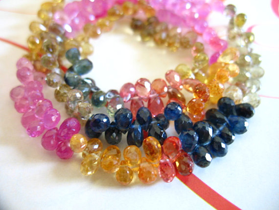 8 Pcs, Sapphire Teardrop Tear Drop Briolettes Beads, Luxe Aaa, 8 Pcs, 4-5.5 Mm, Pink Blue Orange Yellow September Songea Sapphire Gemstone