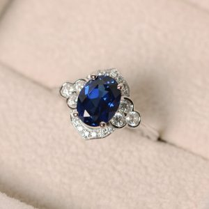 Sapphire ring, sterling sivler, oval cut, anniversary ring, oval cut gemstone | Natural genuine Sapphire rings, simple unique handcrafted gemstone rings. #rings #jewelry #shopping #gift #handmade #fashion #style #affiliate #ad