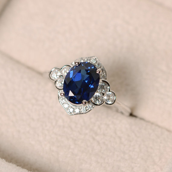 Sapphire Ring, Sterling Sivler, Oval Cut, Anniversary Ring, Oval Cut Gemstone