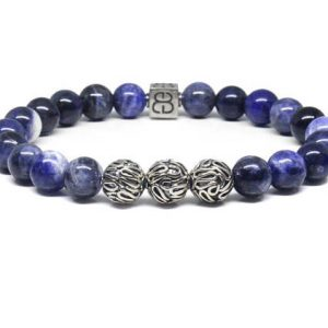 Sodalite Bracelet, Men's Sodalite Bracelet, Sodalite And Sterling Silver Bali Beads Bracelet, 8mm Sodalite Bracelet, Men's Blue Bracelet