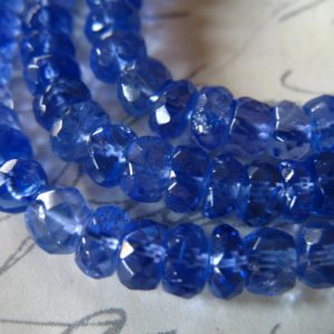 5-50 Pcs, Tanzanite Rondelles Beads, Luxe Aaaa, 5-6 Mm, Periwinkle Blue, Faceted, Brides Bridal December 56 | Natural genuine faceted Tanzanite beads for beading and jewelry making.  #jewelry #beads #beadedjewelry #diyjewelry #jewelrymaking #beadstore #beading #affiliate #ad