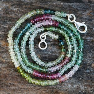 Multicolor Tourmaline Necklace – Pink, Blue And Green Tourmaline -pink, Blue & Green Tourmaline Beads – Indicolite, Pink, Green Tourmaline