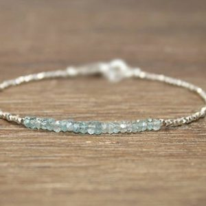 Blue Zircon Bracelet, Hill Tribe Beads, Zircon, Stacking, December Birthstone, Gemstone Jewelry