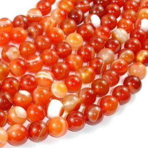 Shop Red Agate Beads! Banded Agate Beads, Red & Orange, 10mm Round Beads, 15 Inch, Full strand, Approx 39 beads, Hole 1mm (132054050) | Natural genuine beads Agate beads for beading and jewelry making.  #jewelry #beads #beadedjewelry #diyjewelry #jewelrymaking #beadstore #beading #affiliate #ad