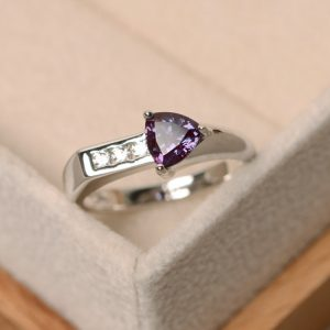 Shop Alexandrite Rings! Alexandrite Ring, Trillion Cut Ring, Arrow Ring, Gemstone Ring, Sterling Silver | Natural genuine Alexandrite rings, simple unique handcrafted gemstone rings. #rings #jewelry #shopping #gift #handmade #fashion #style #affiliate #ad