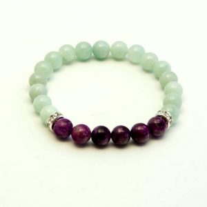 Shop Amazonite Bracelets! Amazonite bracelet featuring Sugilite | Natural genuine Amazonite bracelets. Buy crystal jewelry, handmade handcrafted artisan jewelry for women.  Unique handmade gift ideas. #jewelry #beadedbracelets #beadedjewelry #gift #shopping #handmadejewelry #fashion #style #product #bracelets #affiliate #ad