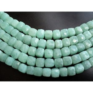 Amazonite Box Bead, Faceted Box Beads, Gemstone Beads, 8-9mm Beads, 4.5 Inch Half Strand, 12 Pieces Approx