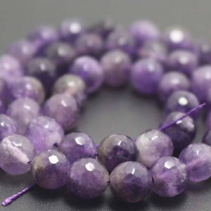Shop Amethyst Beads! 128 Faceted Amethyst Round Beads,6mm/8mm/10mm/12mm Quartz Beads Supply,15 inches one starand | Natural genuine beads Amethyst beads for beading and jewelry making.  #jewelry #beads #beadedjewelry #diyjewelry #jewelrymaking #beadstore #beading #affiliate #ad