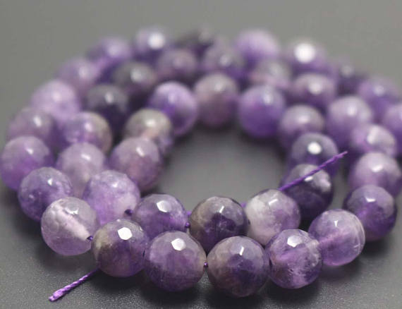 128 Faceted Amethyst Round Beads,6mm/8mm/10mm/12mm Quartz Beads Supply,15 Inches One Starand