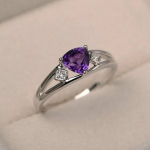 Engagement Ring, Natural Amethyst Ring, February Birthstone, Trillion Cut Purple Gemstone, Sterling Silver Ring
