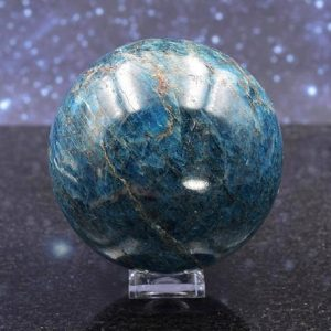 Shop Apatite Shapes! Stunning Large Polished Gemmy Electric Blue Apatite Sphere From Madagascar | Crystal Display | 2.67"