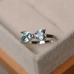 Shop Aquamarine Rings! Natural aquamarine ring, heart aquamarine engagement ring, sterling silver, promise ring for her | Natural genuine Aquamarine rings, simple unique alternative gemstone engagement rings. #rings #jewelry #bridal #wedding #jewelryaccessories #engagementrings #weddingideas #affiliate #ad