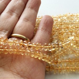 Citrine, Sparkling Golden Orange Citrine Micro Faceted Rondelles, Citrine Necklace, 5mm Beads Each, 13 Inch Strand. Citrine Wholesale