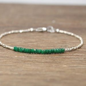 Emerald Bracelet, Hill Tribe Beads, Emerald Jewelry, Pure Silver, May Birthstone. Gemstone Bracelet | Shop beautiful natural gemstone jewelry in modern, chic, boho, elegant styles. Buy crystal handmade handcrafted artisan art jewelry & accessories. #jewelry #beaded #beadedjewelry #product #gifts #shopping #style #fashion