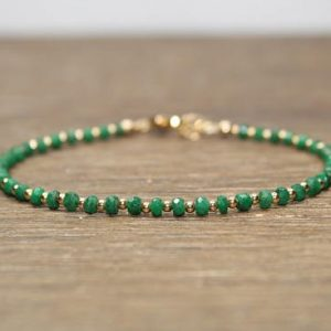 Emerald Bracelet, Emerald Jewelry, May Birthstone, Stacking, Gemstone Jewelry, Gold Or Sterling Silver Beads | Natural genuine Emerald bracelets. Buy crystal jewelry, handmade handcrafted artisan jewelry for women.  Unique handmade gift ideas. #jewelry #beadedbracelets #beadedjewelry #gift #shopping #handmadejewelry #fashion #style #product #bracelets #affiliate #ad