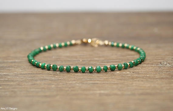 Emerald Bracelet, Emerald Jewelry, May Birthstone, Stacking, Gemstone Jewelry, Gold Or Sterling Silver Beads