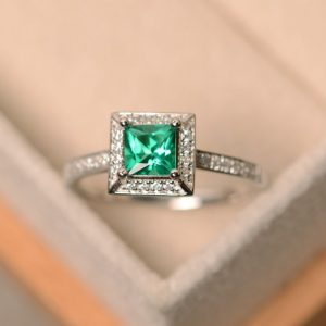 Shop Emerald Engagement Rings! Emerald ring, princess cut emerald, emerald engagement ring | Natural genuine Emerald rings, simple unique alternative gemstone engagement rings. #rings #jewelry #bridal #wedding #jewelryaccessories #engagementrings #weddingideas #affiliate #ad