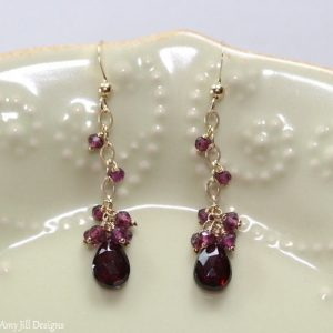 Garnet Earrings, Rhodolite Garnet, January Birthstone, Red Pink Cluster Gemstone Dangle Earrings Jewelry Garnet Jewelry, Gold or Silver | Natural genuine Array jewelry. Buy crystal jewelry, handmade handcrafted artisan jewelry for women.  Unique handmade gift ideas. #jewelry #beadedjewelry #beadedjewelry #gift #shopping #handmadejewelry #fashion #style #product #jewelry #affiliate #ad