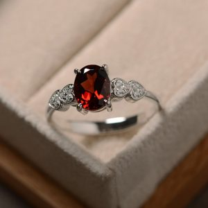 Red garnet ring, oval cut, January birthstone, sterling silver, promise ring
