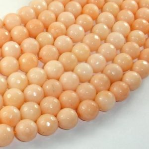 Shop Jade Faceted Beads! Jade Beads, Peach, 10mm(10.5mm) Faceted Round, 15.5 Inch, Full Strand, Approx 37 Beads, Hole 1mm, A Quality (211025025) | Natural genuine faceted Jade beads for beading and jewelry making.  #jewelry #beads #beadedjewelry #diyjewelry #jewelrymaking #beadstore #beading #affiliate #ad