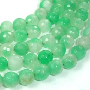 Shop Green Jade Beads! Dyed Jade Beads, Green, 10mm (9.5 mm), Faceted Round, 15 Inch, Full strand, Approx 40 beads, Hole 1 mm (436025002) | Natural genuine beads Jade beads for beading and jewelry making.  #jewelry #beads #beadedjewelry #diyjewelry #jewelrymaking #beadstore #beading #affiliate #ad