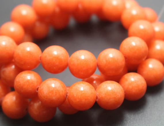 Orange Mountain Jade Beads,6mm/8mm/10mm/12mm Candy Jade Beads,smooth And Round  Beads,15 Inches One Starand