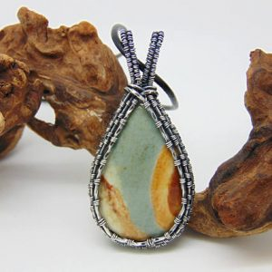 Landscape Jasper Pendant – Wire Wrapped Pendant – Handmade Jewellery – Blue Stone – Polychrome Jasper Necklace