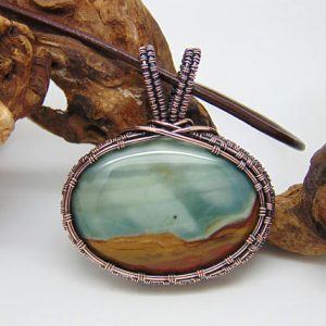 Polychrome Jasper  Pendant – Wire Wrapped Pendant – Handmade Jewellery – Copper Pendant – Desert Jasper Necklace | Natural genuine Jasper necklaces. Buy crystal jewelry, handmade handcrafted artisan jewelry for women.  Unique handmade gift ideas. #jewelry #beadednecklaces #beadedjewelry #gift #shopping #handmadejewelry #fashion #style #product #necklaces #affiliate #ad