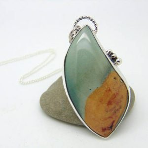 Polychrome Jasper Pendant – Statement Jewellery – Hallmarked Sterling Silver – Gemstone Pendant – Desert Jasper – Statement Pendant | Natural genuine Jasper pendants. Buy crystal jewelry, handmade handcrafted artisan jewelry for women.  Unique handmade gift ideas. #jewelry #beadedpendants #beadedjewelry #gift #shopping #handmadejewelry #fashion #style #product #pendants #affiliate #ad